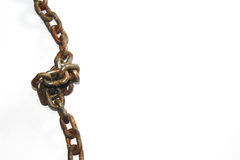 Rusted chain with knot Stock Photos