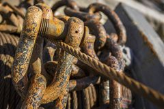 Rusted chains and rigs Royalty Free Stock Photos