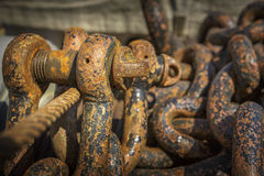 Rusted chains and rigs Royalty Free Stock Images
