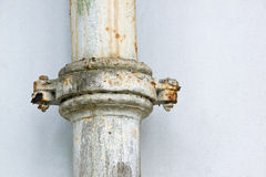 Rusted Clamped Join in Metal Sewerage Pipe Royalty Free Stock Images