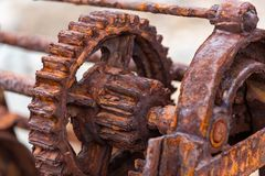The rusted cogs and gears of a historic boat winch used on the F. Leurieu Peninsula at Second Valley South Australia taken on 1st November 2018 royalty free stock images