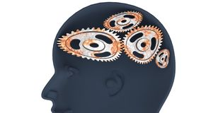 Rusted cogwheels in the mind, thinking slow. A fool - human head with twisted and misaligned wooden cogwheels inside, symbolizes stupidity, idiocy, being a dumb Stock Image