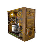Rusted computer open. A computer case modification - lot of paintwork stock photos