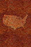 Rusted corroded metal map of the United States Royalty Free Stock Photos
