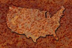 Rusted corroded metal map of US seamlessly tileab. Rusted corroded metal map of the United States seamlessly tileable, reddish orange in color royalty free stock photos