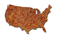 Rusted corroded metal map of US on white. Rusted corroded metal map of the United States on white background royalty free stock images