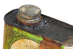 Rusted corroded top and lid of metal can isolated Royalty Free Stock Images