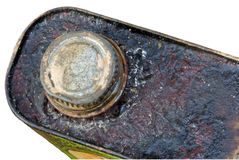 Rusted corroded top and lid of metal can isolated Royalty Free Stock Photo