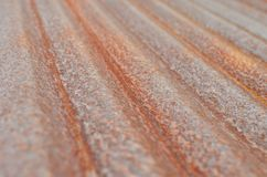 Rusted corrugated galvanized iron plate on natural light Royalty Free Stock Photos