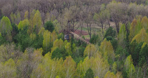 Rusted crane. Near Pripyat City in Ukraone Stock Photo