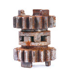Rusted dusted block gear isolated Stock Image