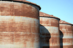 Rusted Feed Silos Royalty Free Stock Photography