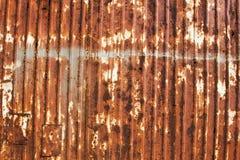 Rusted galvanisierte gewölbtes, Eisenplatte Stockfoto