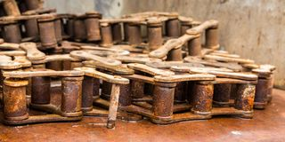 Rusted Gear Chain. Machine old rusted chain links Stock Photos