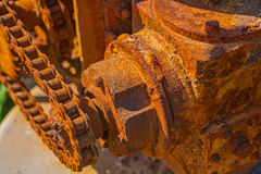 Rusted gear mechanism close up view Royalty Free Stock Images