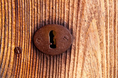 Rusted iron key hole Stock Images