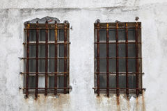 Rusted iron window bars Royalty Free Stock Photo