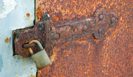 Rusted Locked Solid Metal Door Hinge Padlock Royalty Free Stock Photo