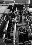 Rusted machine in factory, Black and White tone Royalty Free Stock Photo