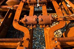 Rusted Machinery. Old, rusted parts of an abandoned rail utility vehicle Stock Photography