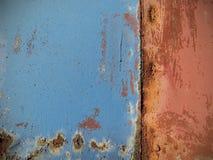 Rusted malte Metallwand, Abschluss herauf Hintergrund Stockbilder