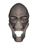Rusted metal alien skull - front view Stock Photos