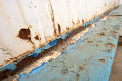 Rusted Metal Blue Girder and Flaking Paint Stock Images