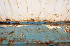 Rusted Metal Blue Girder and Flaking Paint Stock Image
