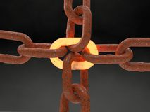 Rusted metal chain with a point of failure metal heated. Rusted metal chain with a weak chain heated.  Represent a  point of failure SPOF. 3D illustration, Black Royalty Free Stock Photography