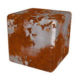 Rust metal cube rustic texture. Giant metallic cubic dice. Isolated rustic cube. Iron rusty textures Stock Image