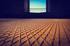 Rusted metal floor with a diamond-shaped pattern Stock Photos
