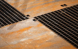 Rusted metal floor panels and grille Royalty Free Stock Image