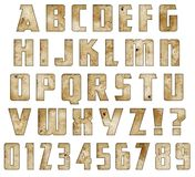 Rusted Font. Rusted Metal Font Lettering with scratches, bullet holes, embossed, grunge antique numbers alphabet letters ABCs ABC`s vector illustration