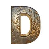 Rusted metal letter D. Rusted metal letter, 3d Rendering royalty free illustration