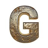 Rusted metal letter G. Rusted metal letter, 3d Rendering stock illustration