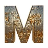 Rusted metal letter M. Rusted metal letter, 3d Rendering royalty free illustration