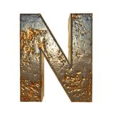 Rusted metal letter N. Rusted metal letter, 3d Rendering royalty free illustration