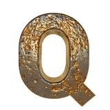 Rusted metal letter Q. Rusted metal letter, 3d Rendering royalty free illustration