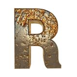 Rusted metal letter R. Rusted metal letter, 3d Rendering stock illustration