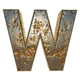 Rusted metal letter W. Rusted metal letter, 3d Rendering royalty free illustration