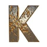 Rusted metal letter K. Rusted metal letter, 3d Rendering stock illustration