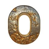Rusted metal letter O. Rusted metal letter, 3d Rendering vector illustration