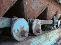 Rusted metal machine. Closeup of rusted industrial metal machine Royalty Free Stock Images