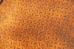 Rusted Metal Manhole Cover with Herringbone Pattern Royalty Free Stock Photos