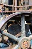 Rusted metal parts of old industrial mechanism closeup Stock Image