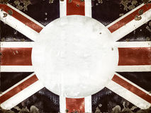 Rusted metal sign with the English flag. With room for text in the center circle Stock Photos