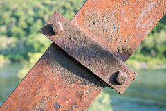 Rusted Metal Support Beam. On a bridge over a river Stock Photos