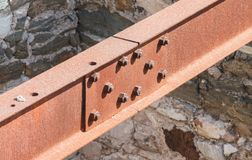 Rusted metal support beam. Of an old bridge Stock Photos
