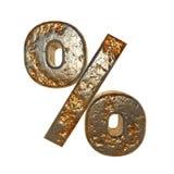 Rusted metal symbol percent. Rusted metal symbol . 3D rendering stock illustration