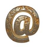 Rusted metal symbol @. Rusted metal symbol . 3D rendering royalty free illustration